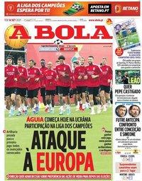capa Jornal A Bola de 14 setembro 2021