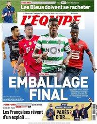 capa Jornal L'Équipe de 1 setembro 2021