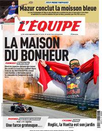 capa Jornal L'Équipe de 6 setembro 2021