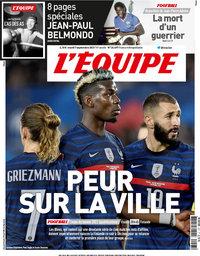 capa Jornal L'Équipe de 7 setembro 2021