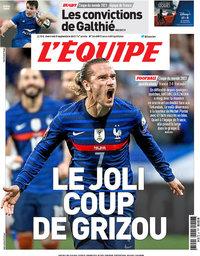 capa Jornal L'Équipe de 8 setembro 2021