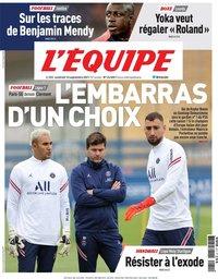 capa Jornal L'Équipe de 10 setembro 2021