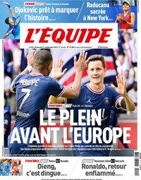 capa Jornal L'Équipe de 12 setembro 2021