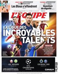 capa Jornal L'Équipe de 14 setembro 2021