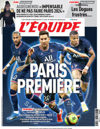 capa Jornal L'Équipe de 15 setembro 2021