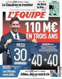 capa Jornal L'Équipe de 18 setembro 2021