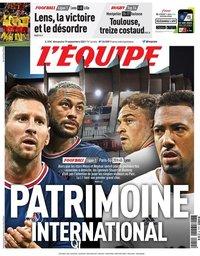 capa Jornal L'Équipe de 19 setembro 2021
