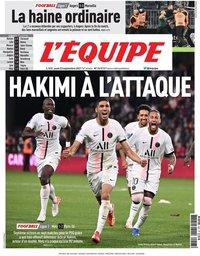 capa Jornal L'Équipe de 23 setembro 2021