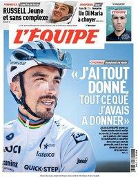 capa Jornal L'Équipe de 25 setembro 2021