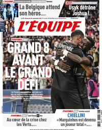 capa Jornal L'Équipe de 26 setembro 2021