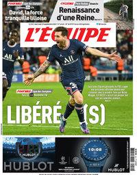 capa Jornal L'Équipe de 29 setembro 2021