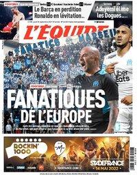 capa Jornal L'Équipe de 30 setembro 2021