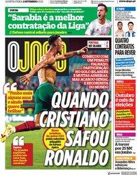 capa Jornal O Jogo de 2 setembro 2021