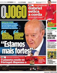 capa Jornal O Jogo de 3 setembro 2021