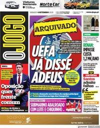 capa Jornal O Jogo de 4 setembro 2021