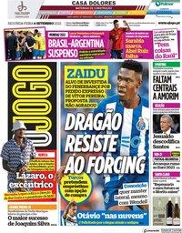 capa Jornal O Jogo de 6 setembro 2021