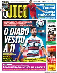 capa Jornal O Jogo de 8 setembro 2021