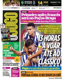 capa Jornal O Jogo de 9 setembro 2021