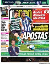 capa Jornal O Jogo de 10 setembro 2021