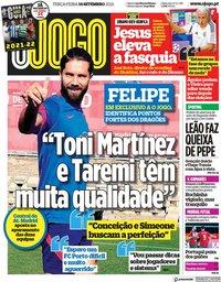 capa Jornal O Jogo de 14 setembro 2021