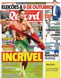 capa Jornal Record de 2 setembro 2021