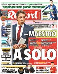 capa Jornal Record de 3 setembro 2021