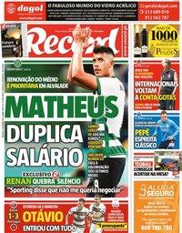 capa Jornal Record de 5 setembro 2021