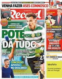 capa Jornal Record de 9 setembro 2021