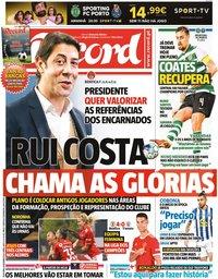 capa Jornal Record de 10 setembro 2021