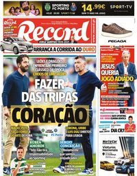 capa Jornal Record de 11 setembro 2021
