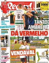 capa Jornal Record de 12 setembro 2021