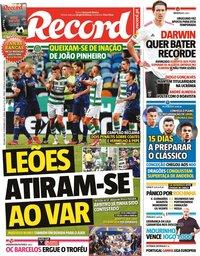 capa Jornal Record de 13 setembro 2021