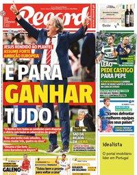 capa Jornal Record de 14 setembro 2021