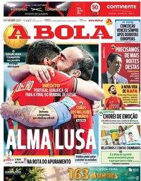 capa Jornal A Bola de 1 outubro 2021
