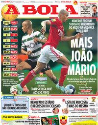 capa Jornal A Bola de 2 outubro 2021