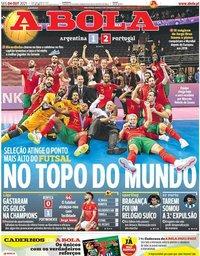 capa Jornal A Bola de 4 outubro 2021
