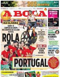 capa Jornal A Bola de 8 outubro 2021