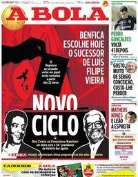 capa Jornal A Bola de 9 outubro 2021