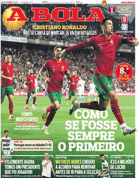 capa Jornal A Bola de 13 outubro 2021