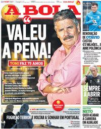 capa Jornal A Bola de 14 outubro 2021