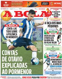 capa Jornal A Bola de 15 outubro 2021