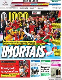 capa Jornal O Jogo de 4 outubro 2021