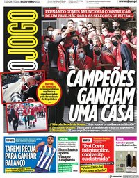 capa Jornal O Jogo de 5 outubro 2021