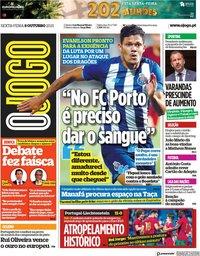 capa Jornal O Jogo de 8 outubro 2021