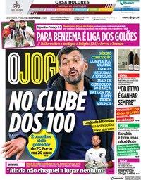 capa Jornal O Jogo de 11 outubro 2021