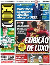 capa Jornal O Jogo de 13 outubro 2021