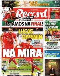 capa Jornal Record de 1 outubro 2021