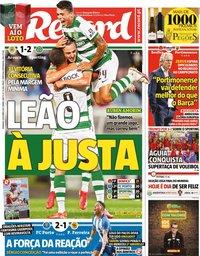 capa Jornal Record de 3 outubro 2021