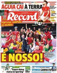 capa Jornal Record de 4 outubro 2021