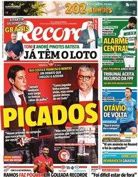 capa Jornal Record de 8 outubro 2021